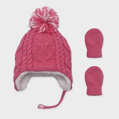 Baby Girls' Knit Cable Beanie and Basic Magic Mittens Set - Cat & Jack™ Pink 6-12M