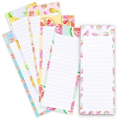 """6-Pack Magnetic Notepad Grocery List, To Do List Shopping Note Pad Reminders for Fridge Refrigerator Magnet Memo Pad, Colorful Fruit Designs, 3.5x9"""""""