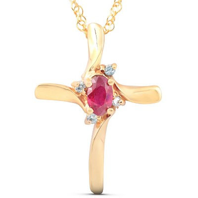 "Pompeii3 1/4CT Ruby & Diamond Cross Pendant & Chain 14K Yellow Gold 3/4"" Tall"
