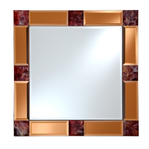 "Square Beveled Frameless Wall Mirror with Mirrored Tinted Beveled Border and Marble Accents Copper 24"" X 24"" - Breeze Point - image 1 of 3"