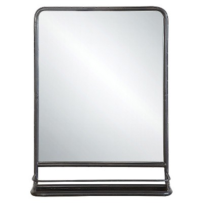 "19.5"" x 27.5"" Metal Framed Wall Mirror with Shelf Black - 3R Studios"