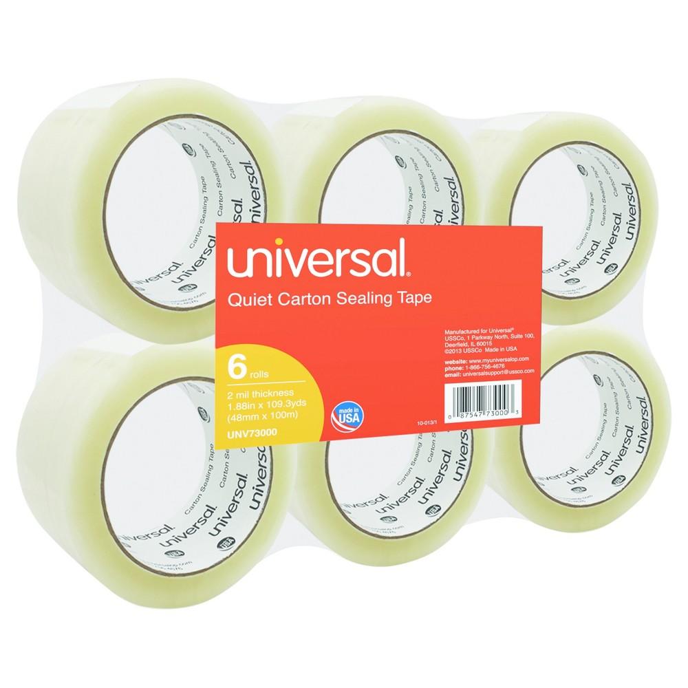 Universal Quiet Tape Box Sealing Tape, 48mm x 100m, 3 Core, Clear, 6pk
