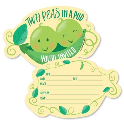 Big Dot of Happiness Double the Fun - Twins Two Peas in a Pod - Shaped Invites - Baby Shower or Birthday Party Invite Cards with Envelopes - Set of 12