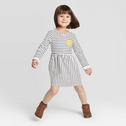 Toddler Girls' Striped Dress with Heart - Cat & Jack™ White/Navy/Yellow