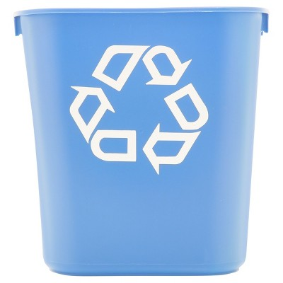 Rubbermaid® Commercial Small Deskside Recycling Container - Rectangular - Plastic - 13.625qt - Blue