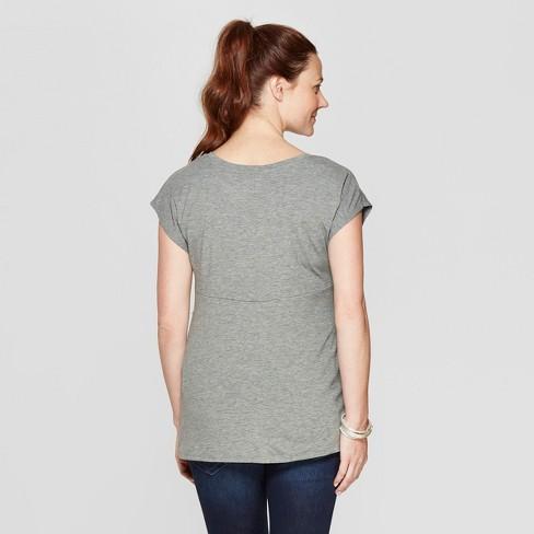 3edd7ca98eb10 Maternity Short Sleeve Twist Front Dolman Sleeve T-Shirt - Isabel Maternity  By Ingrid   Isabel™ Heather Gray   Target