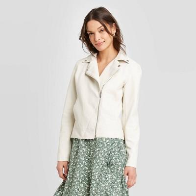 Women's Faux Leather Moto Jacket - Universal Thread™ Cream