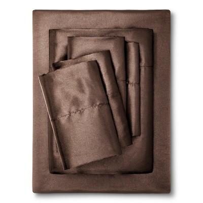 King Solid Satin 6pc Wrinkle Free Luxurious Sheet Set Chocolate