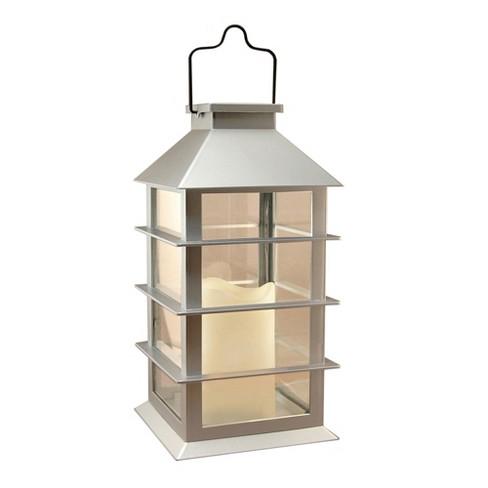 Solar Powered Lantern with LED Candle Silver - LumaBase - image 1 of 4