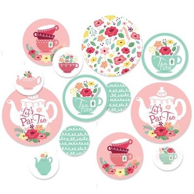 Big Dot of Happiness Floral Let's Par-Tea - Garden Tea Party Giant Circle Confetti - Party Decorations - Large Confetti 27 Count