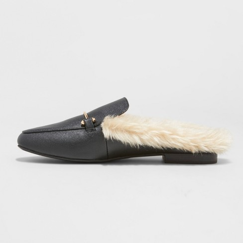0f2d6e4e083 Women s Rebe Faux Leather Fur Backless Mules - A New Day™ Black   Target
