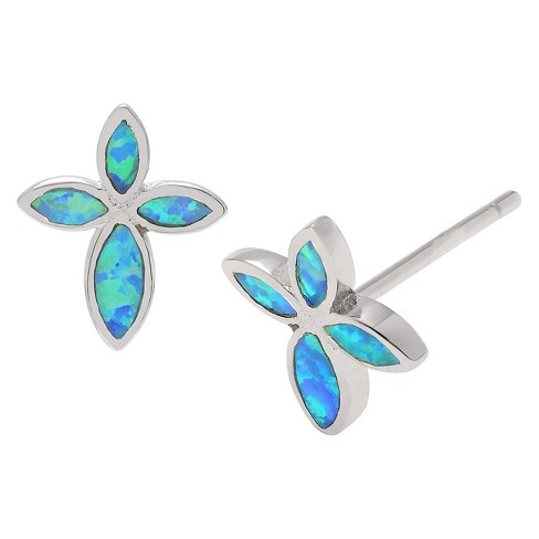 1/10 CT. T.W. Fancy-cut Simulated Opal Butterfly Stud Inlaid Set Earrings in Sterling Silver - Blue - image 1 of 2