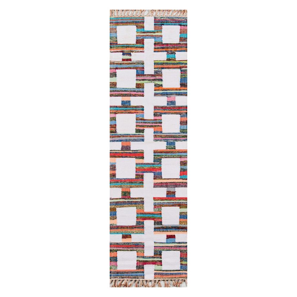 2'X3' Geometric Woven Runner - Novogratz By Momeni, White Red