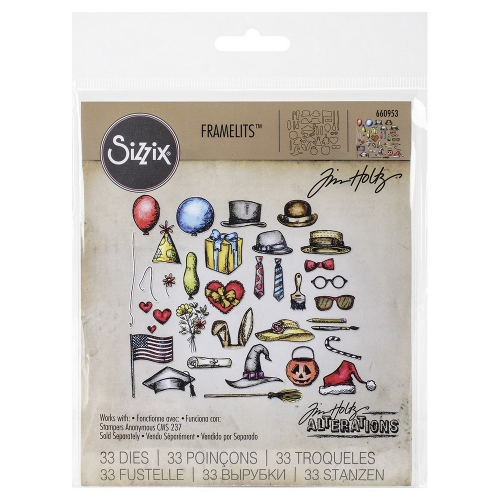 Image of Sizzix Framelits Dies 3By Tim Holtz Crazy Things-Silver Asst Sizes, Brown