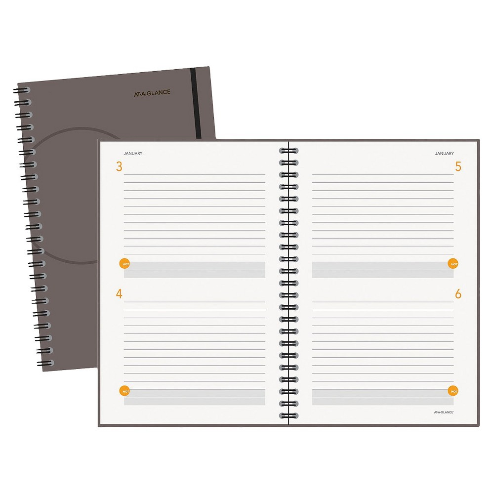 At-A-Glance Plan.Write.Remember. Planning Notebook Two Days Per Page, 6 x 9, Gray, Grey/White