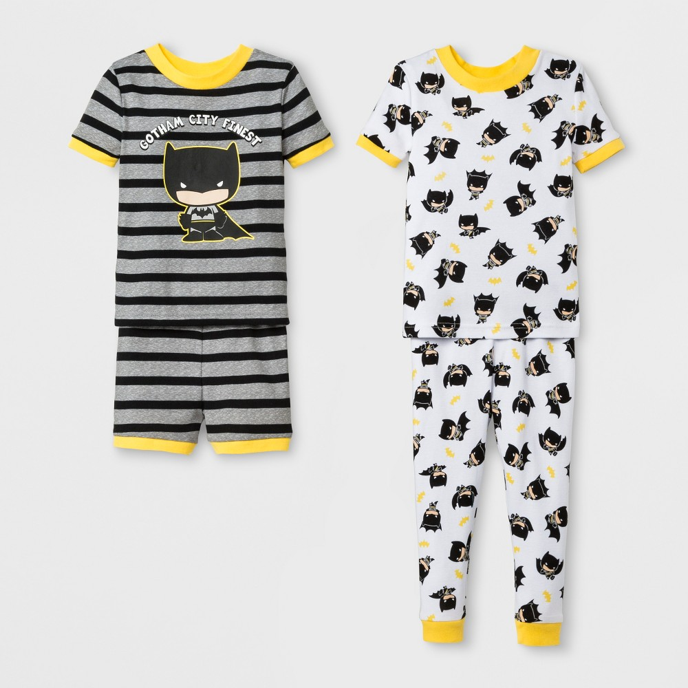 Toddler Boys' Batman 4pc Short Sleeve Pajama Set - Gray 3T