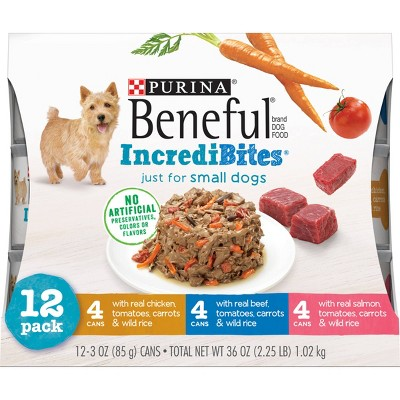 Purina Beneful IncrediBites Chicken, Beef & Salmon Recipes Small Dogs Wet Dog Food - 3oz/12ct Variety Pack