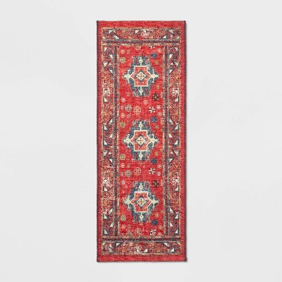 "22""x60"" Printed Persian Kitchen Table Runner Red - Threshold™"