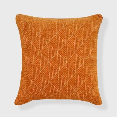 "18""x18"" Geometric Chenille Woven Jacquard Reversible Throw Pillow Orange - freshmint"