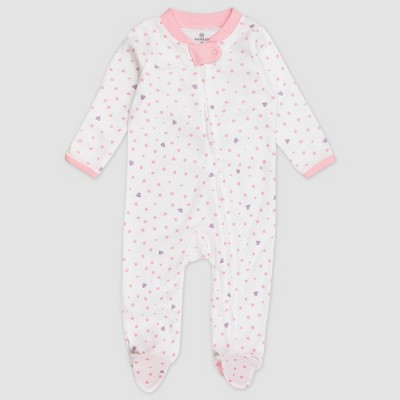 Honest Baby Baby Girls' Love Dot Organic Cotton Pajama Jumpsuit - Pink Newborn
