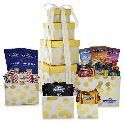 Ghirardelli Holiday Gift Gold Silver 4 Stack Tower Assorted Chocolate - 27.2oz - image 1 of 1