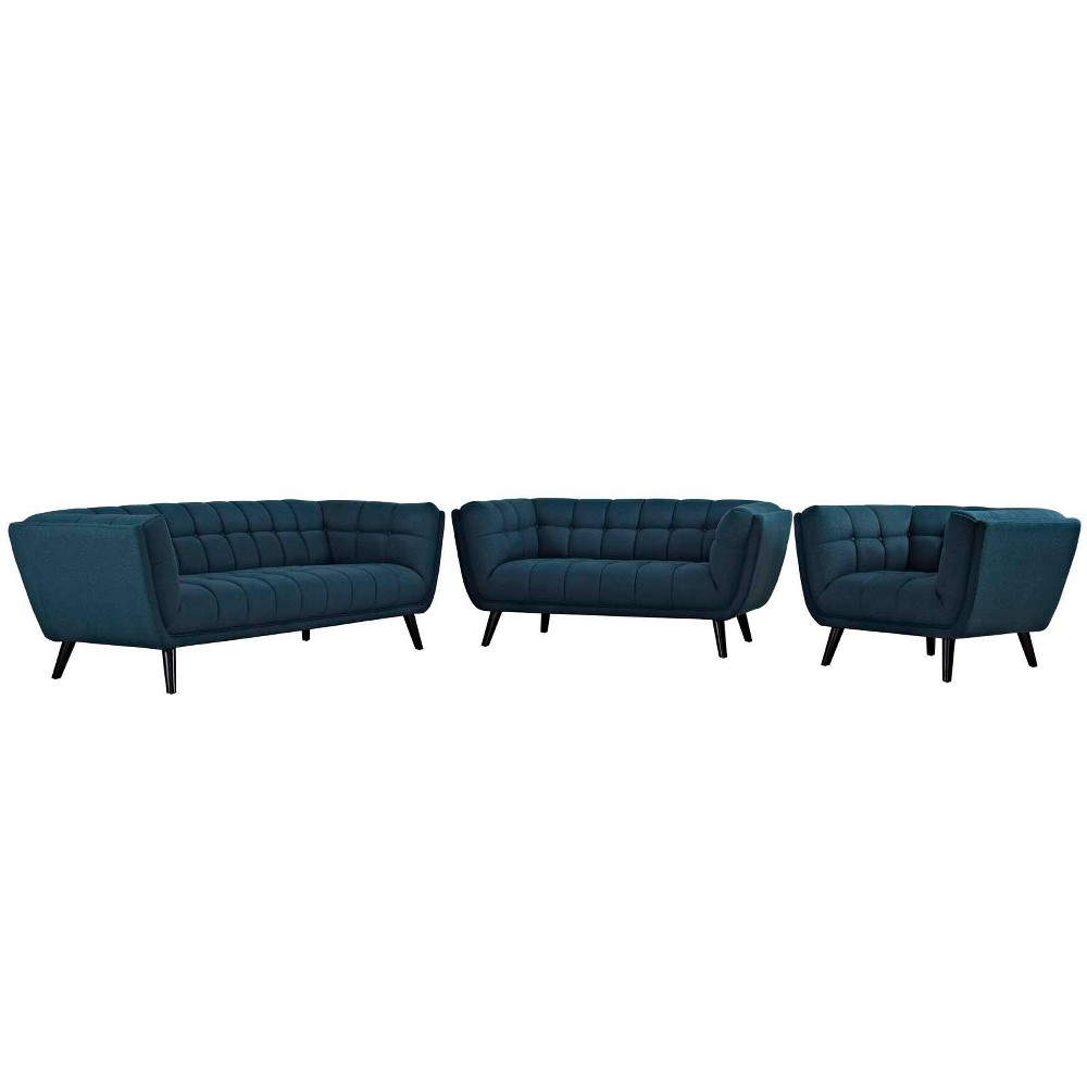3pc Bestow Upholstered Fabric Sofa Loveseat and Armchair Set Blue - Modway