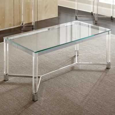 Elegant Talia Cocktail Table Glass Acrylic And Chrome   Steve Silver