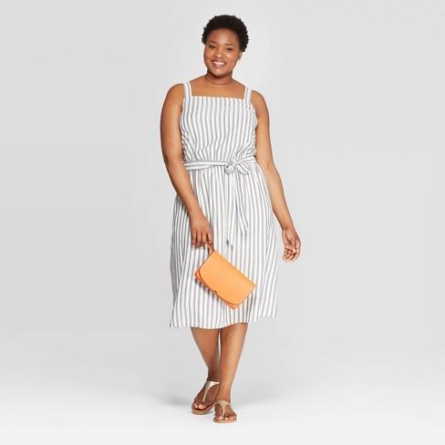 Women\'s Plus Size Striped Square Neck Dress - Ava & Viv™ Cream 4X