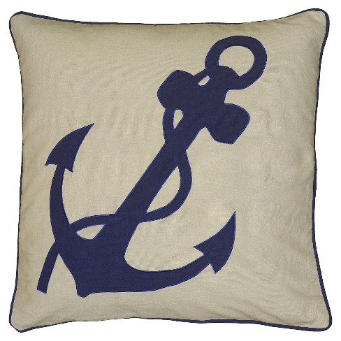 "Blue Anchor Design Throw Pillow (18""x18"") - Rizzy Home - image 1 of 1"