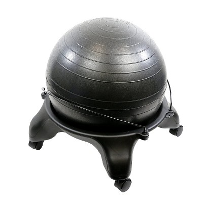 CanDo 30-1796 Backless 22 Inch Plastic Exercise Ball Stool with 4 Locking Caster Wheels for Home Office or Gym, Black