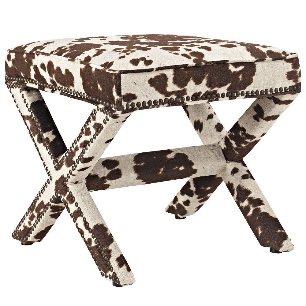 Rivet Upholstered Fabric Bench Cowhide - Modway