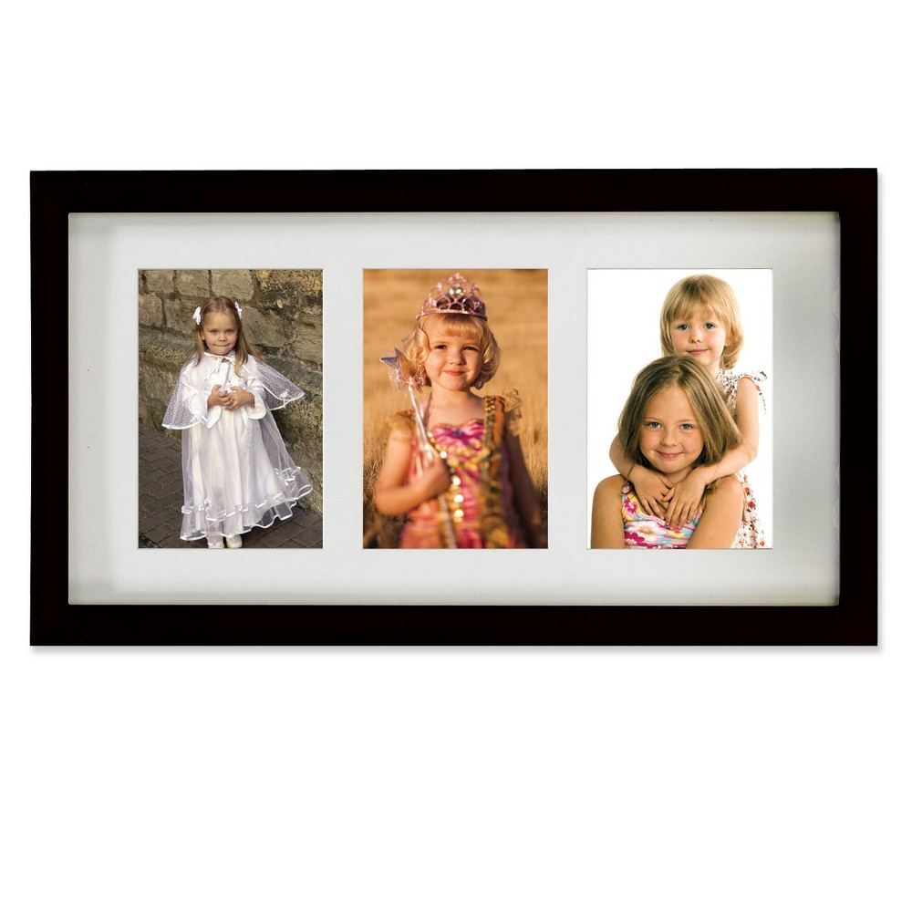 "Image of ""4""""x6"""" Triple Matted Wood Picture Frame Black - Lawrence Frames"""