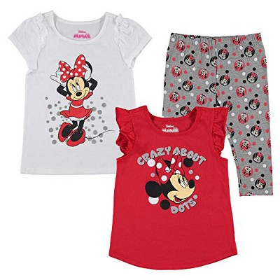 Disney Girl's 3-Pack Crazy About Dots Minnie Mouse Ruffle Sleeve Tank Top, Graphic Tee and Capri Leggings for Kids