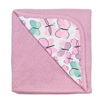 Honest Baby Organic Cotton Reversible Mini-Quilted Receiving Blanket - Flutter