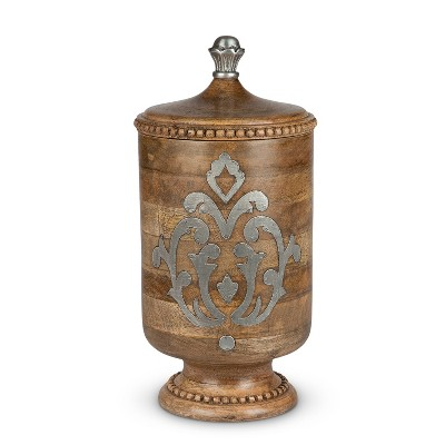 GG Collection Wood and Metal Inlay Large Heritage Collection Canister