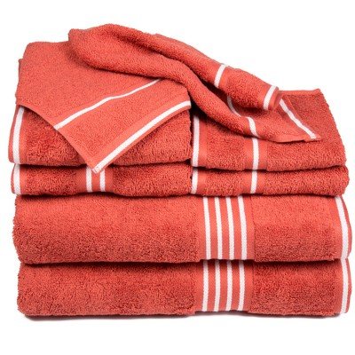 8pc Striped Towel Set Red - Yorkshire Home