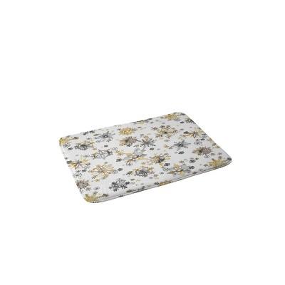 Ninola Design Christmas Stars Snowflakes Memory Foam Bath Mat Yellow/Gray - Deny Designs