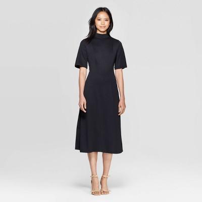 Women's Short Sleeve High Neck Back Tie A Line Midi Dress - Who What Wear™ Black S