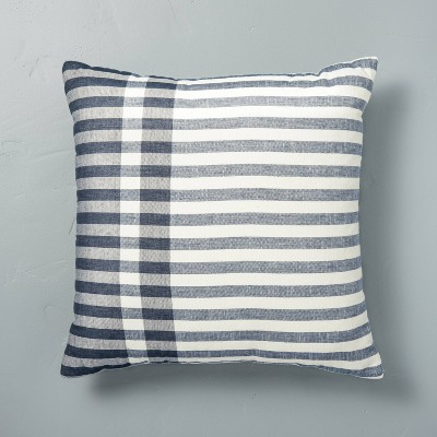 "18"" x 18"" Contrast Edge Stripe Throw Pillow Sour Cream/Gray - Hearth & Hand™ with Magnolia"