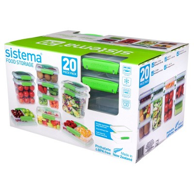 Sistema Medium Clear Green Food Storage Canister Set - 20pc