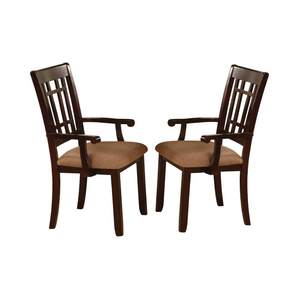 Set of 2 Grantwood Gridded Ladder Back Arm Chair Dark Cherry - ioHOMES