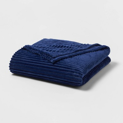 Full/Queen Ribbed Plush Bed Blanket Blue - Room Essentials™