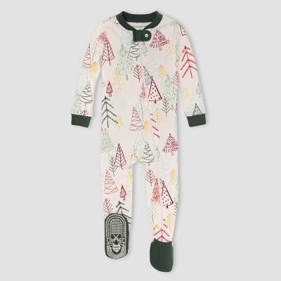 Burt's Bees Baby® Baby Trees Organic Cotton Tight Fit Footed Pajama - Ivory/Dark Green 0-3M