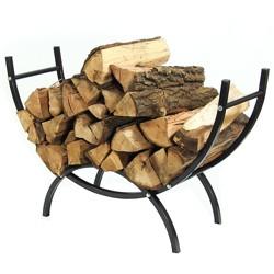 Curved Steel Indoor/Outdoor Log Rack - 3' Black - Sunnydaze Decor