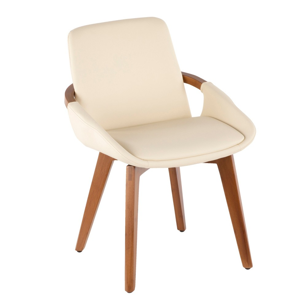 Cosmo Mid-Century Modern Chair Cream/Walnut (Ivory/Brown) - LumiSource