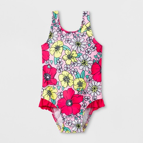 Toddler Girls' Floral One Piece Swimsuit - Cat & Jack™ Pink - image 1 of 2