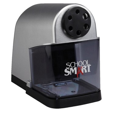 School Smart 6-Hole Electric Sharpener, 7 x 4-1/2 x 7-3/8 Inches, Black/Silver