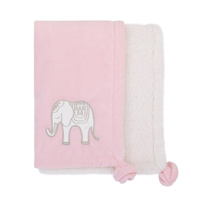 NoJo Serendipity Pink Elephant Appliqued Plush Baby Blanket