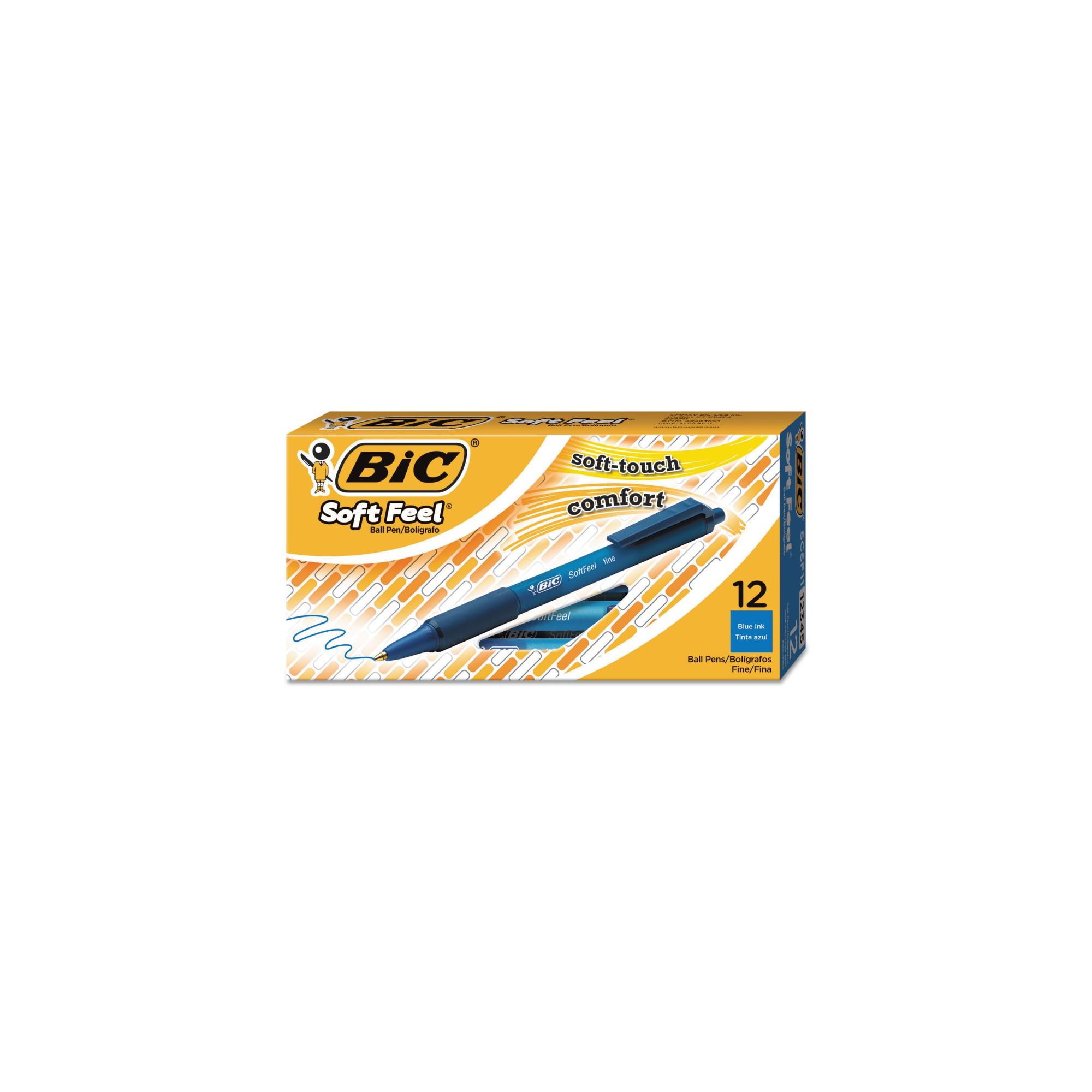 Bic Soft Feel Ballpoint Fine Sized Retractable Pen - Blue - 12ct - 2 Pack, Blu