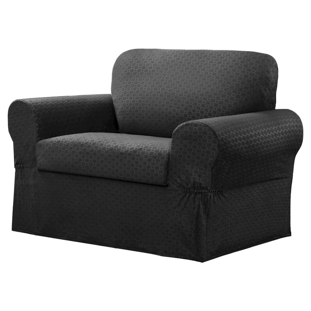 Image of Charcoal Conrad Chair Slipcover (2 Piece) - Maytex